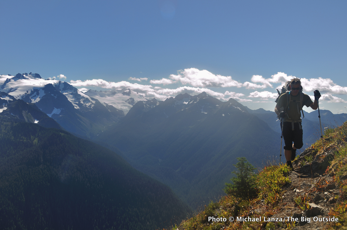 A backpacker in Washington's Olympic Mountains.