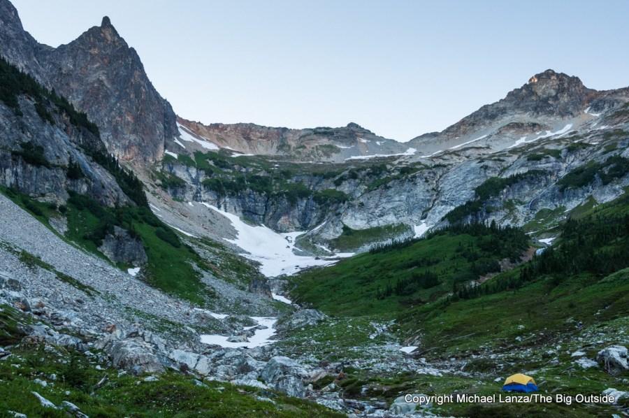 A campsite in Phelps Basin, Glacier Peak Wilderness, Washington.