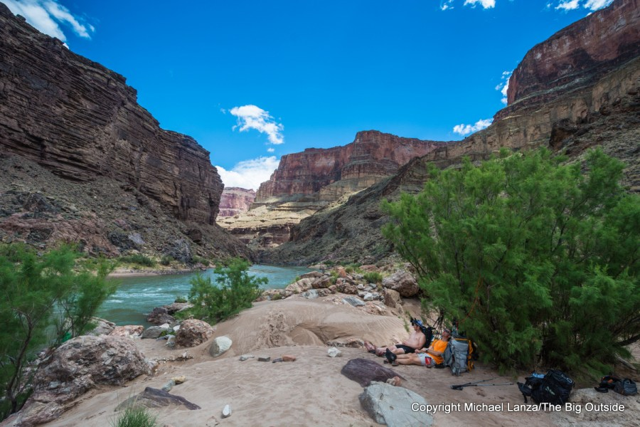 Campsite at Toltec Beach on the Royal Arch Loop in the Grand Canyon.