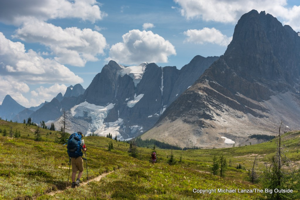 A backpacker on the Rockwall Trail in Kootenay National Park, Canada.
