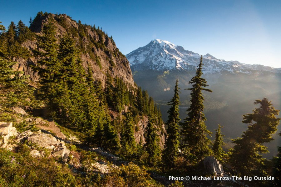 The view of Mount Rainier from the Eagle Peak Trail in Mount Rainier National Park.
