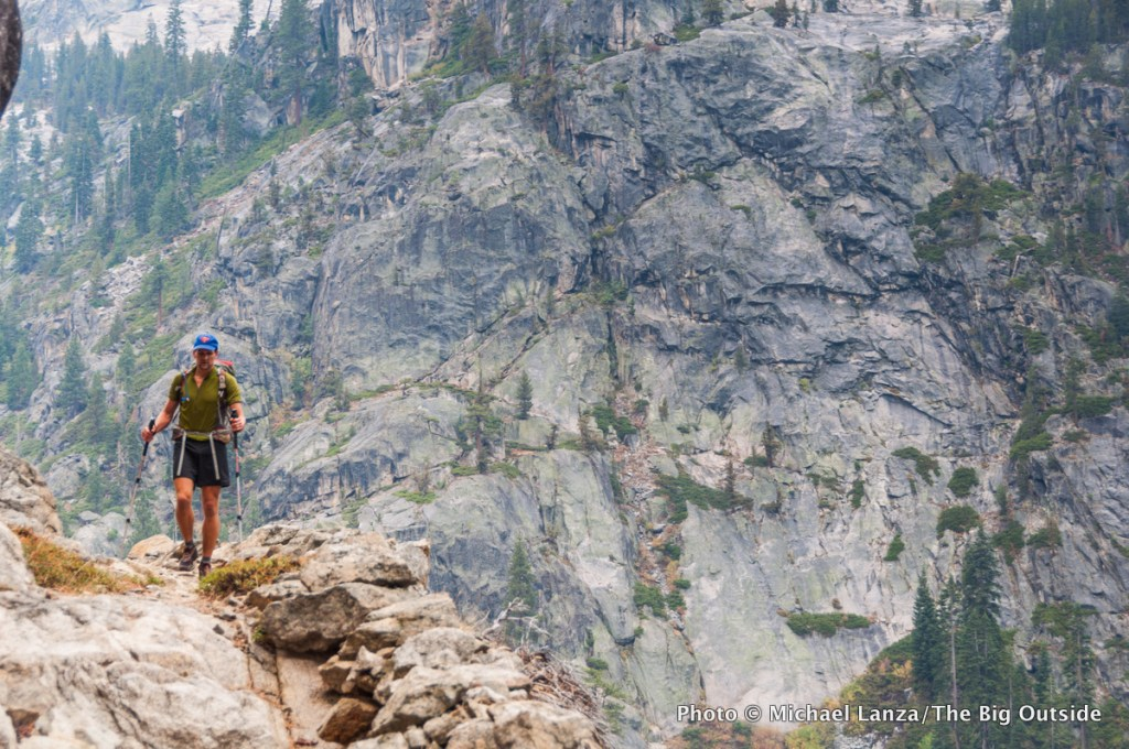 A backpacker in northern Yosemite National Park.