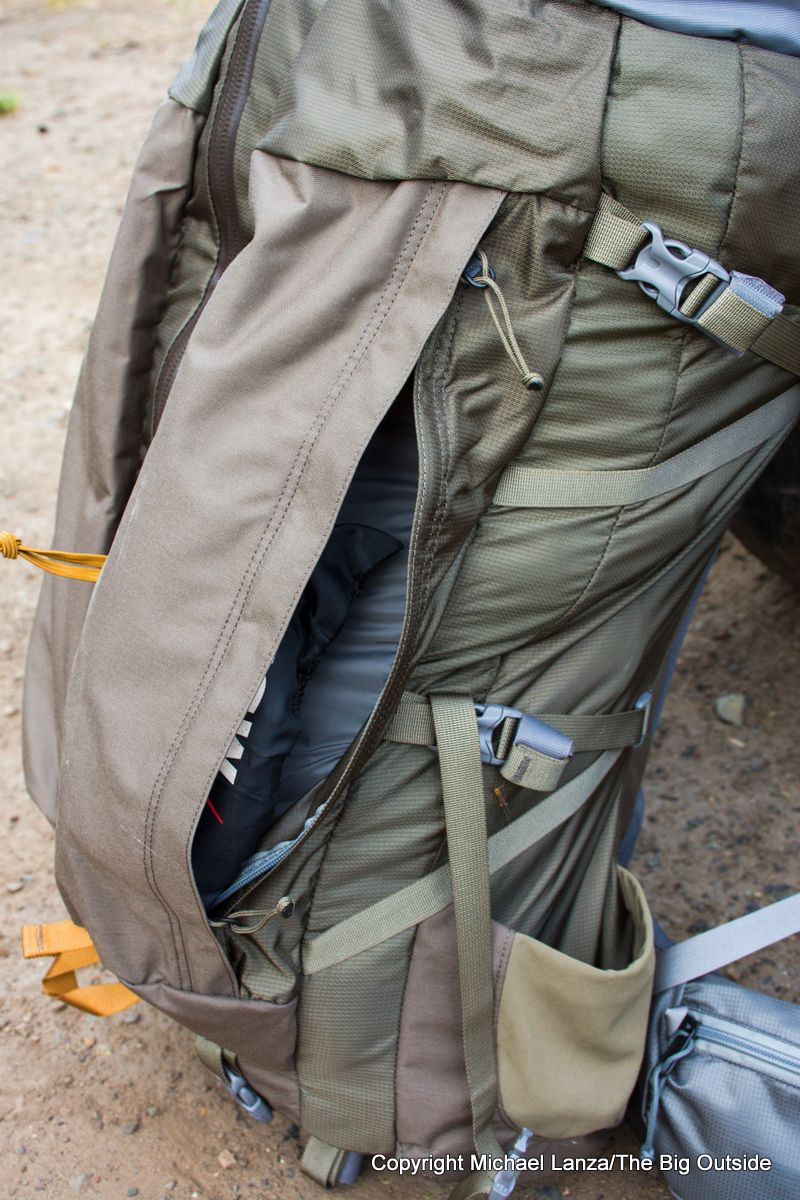 The Mystery Ranch Sphinx 60L front pocket.
