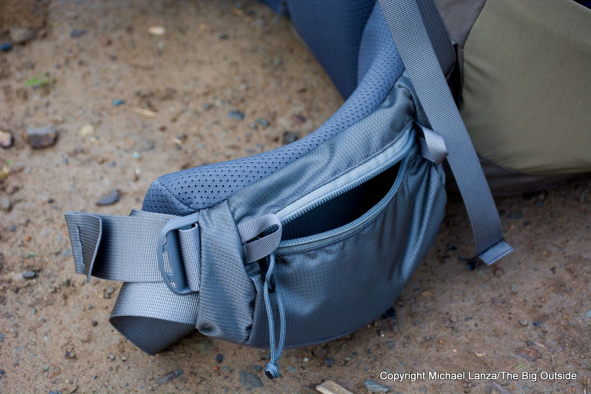The Mystery Ranch Sphinx 60L hipbelt pocket.