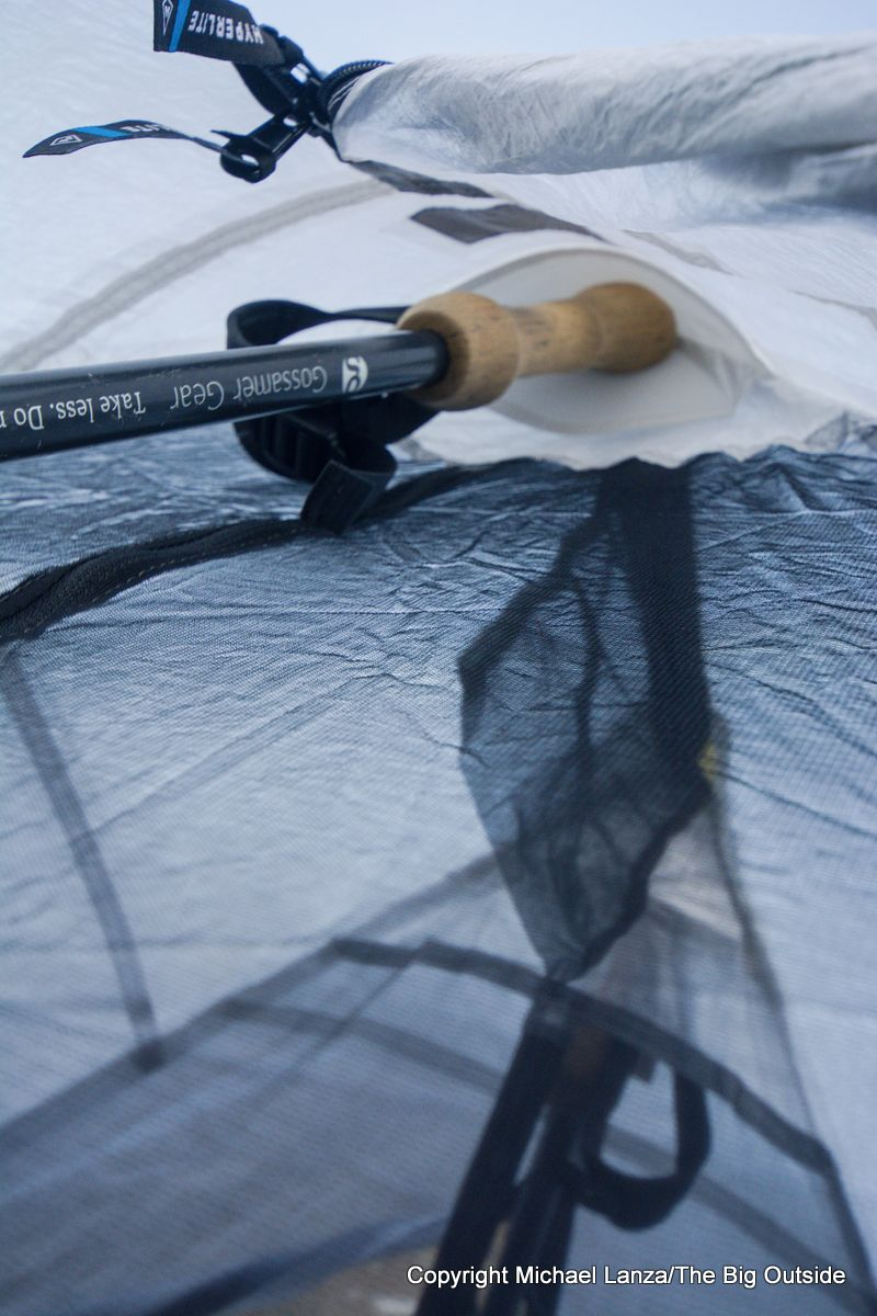 The Hyperlite Mountain Gear Dirigo 2 ultralight backpacking tent internal pole grommet.