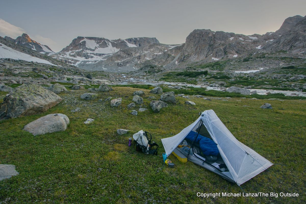 The Hyperlite Mountain Gear Dirigo 2 ultralight backpacking tent in the Wind River Range.