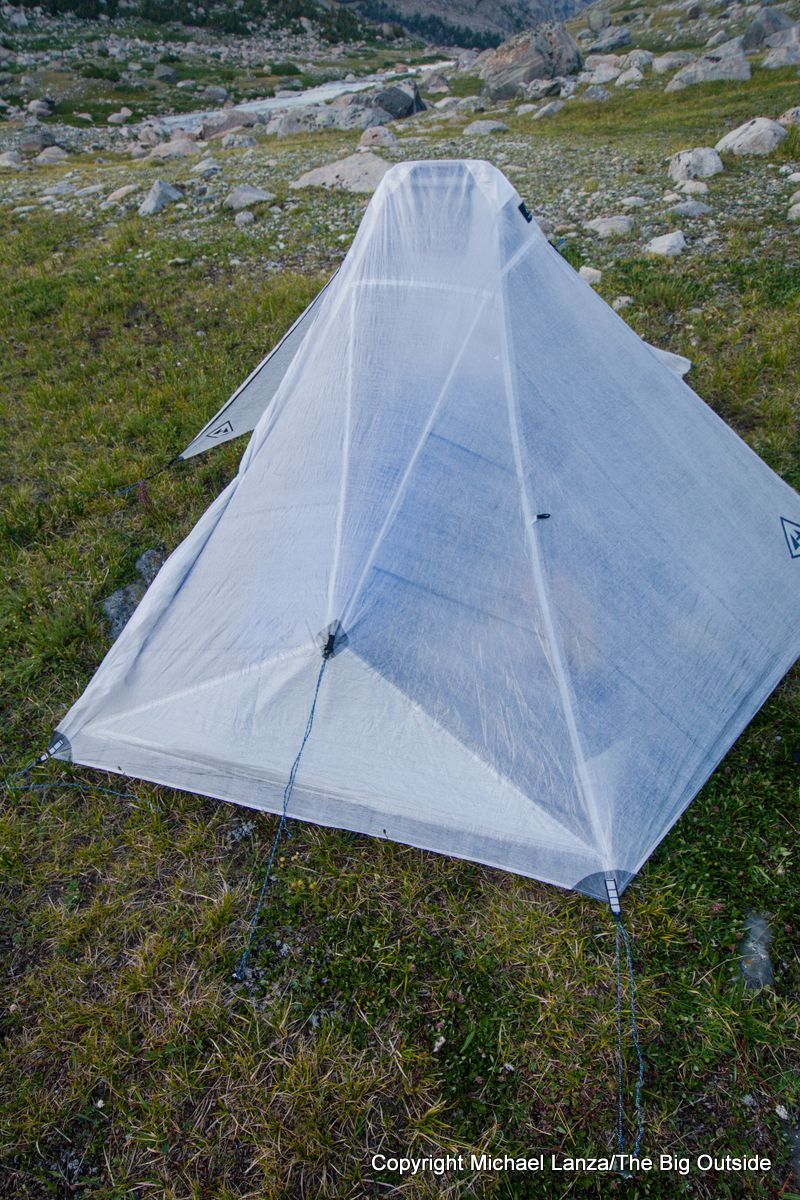 The Hyperlite Mountain Gear Dirigo 2 ultralight backpacking tent end guyout.