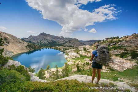 A backpacker above Liberty Lake on the Ruby Crest Trail in Nevada's Ruby Mountains.