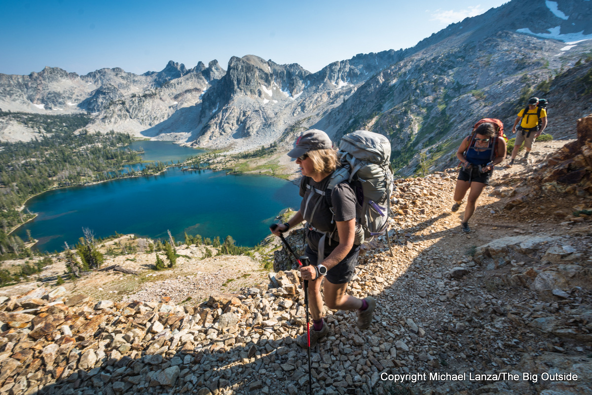 Backpackers on Trail 95 above Twin Lakes, Sawtooth Mountains, Idaho.