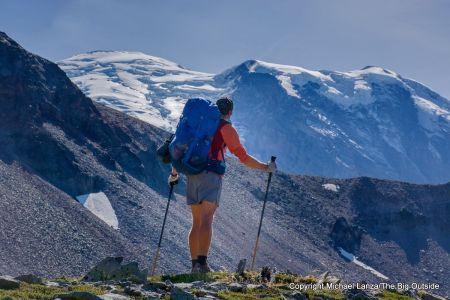 A backpacker on the Wonderland Trail in Mount Rainier National Park.