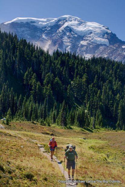 Backpackers in Moraine Park on the Wonderland Trail in Mount Rainier National Park.