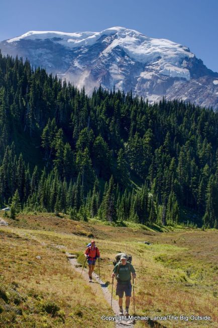 Backpackers in Moraine Park on the Wonderland Trail in Mount Rainier National Park.