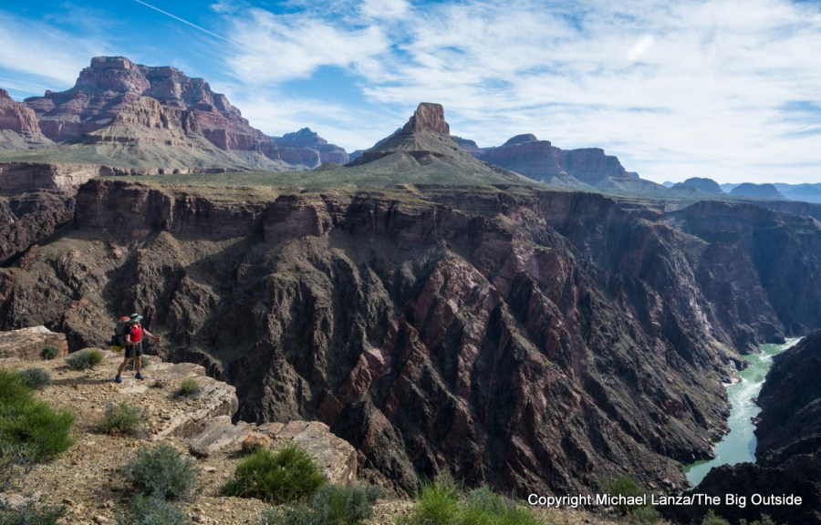 A backpacker on the Tonto Trail in the Grand Canyon.