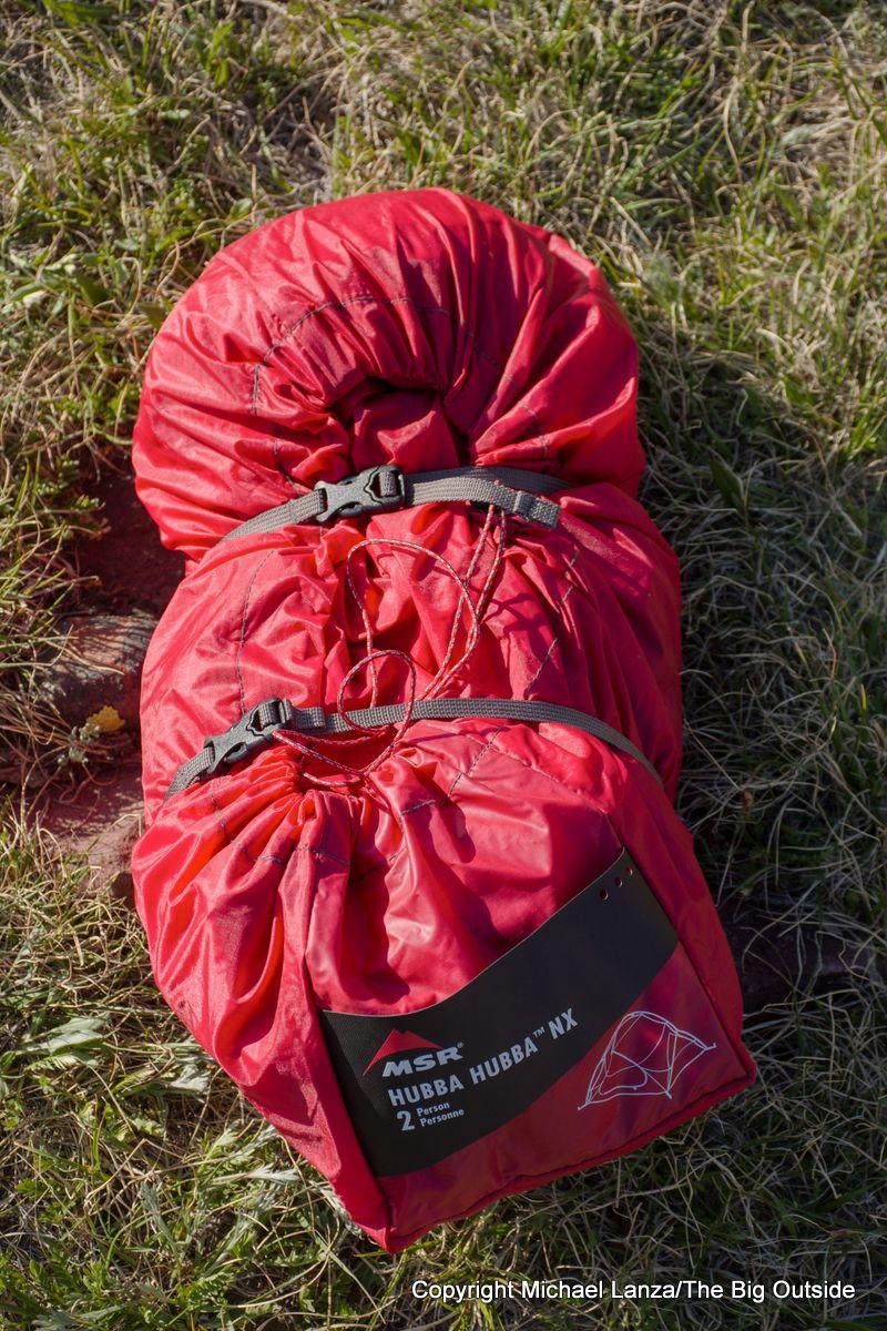 The MSR Hubba Hubba NX 2-person tent stuffed.