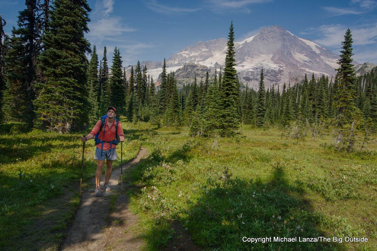 A backpacker on the Wonderland Trail in Indian Henrys Hunting Ground, Mount Rainier National Park.