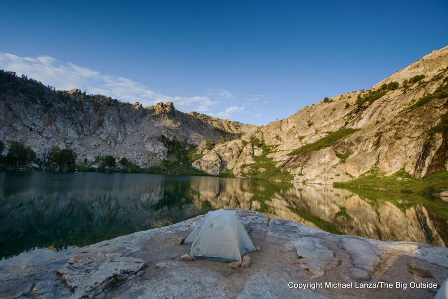 A campsite at Overland Lake on the Ruby Crest Trail.