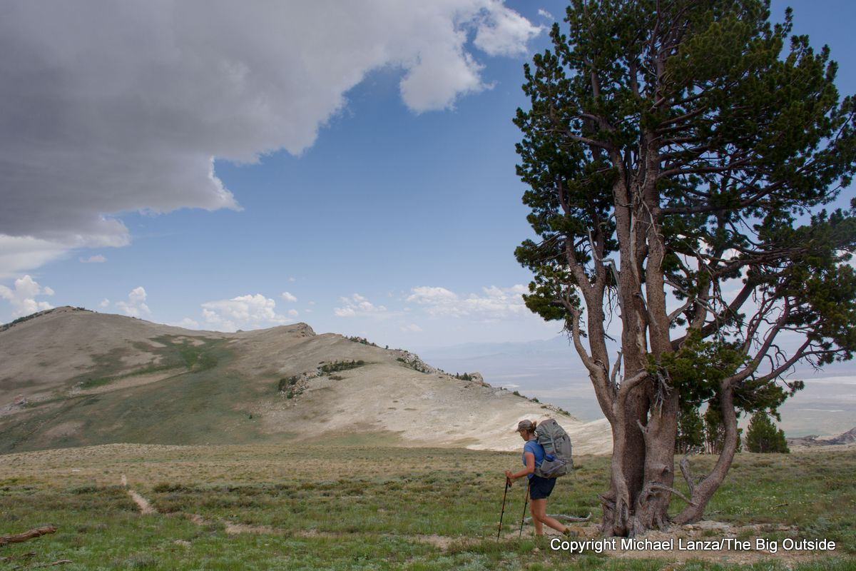 A backpacker on the Ruby Crest Trail's high alpine traverse.
