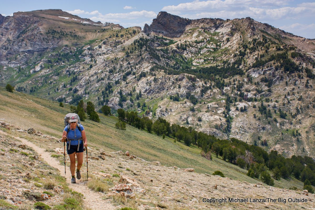 A backpacker on the Ruby Crest Trail, day three, Ruby Mountains, Nevada.