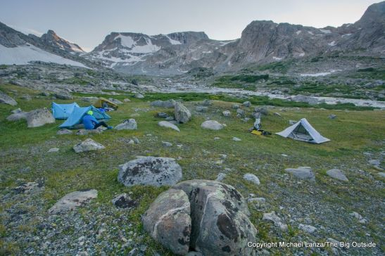 A campsite in the valley below the Bull Lake Glacier on the Wind River High Route..