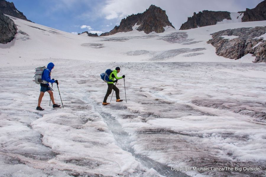 Backpackers crossing the Gannett Glacier on the Wind River High Route.