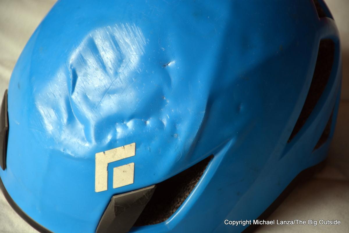 Black Diamond helmet damaged in a rock-climbing accident.