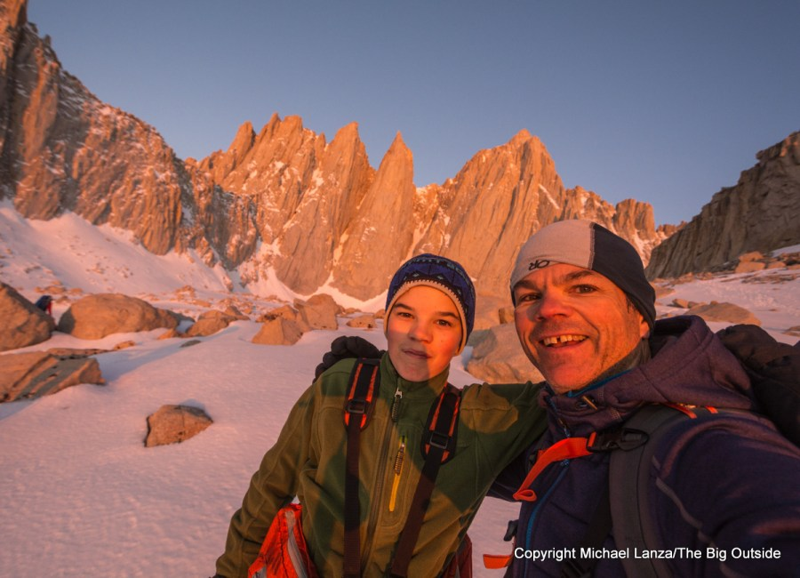 A father and teenage son climbing the Mountaineers Route on California's Mount Whitney.