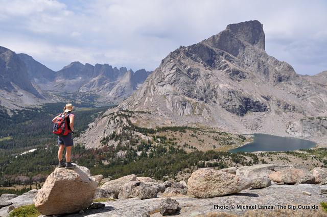 A hiker overlooking Lizard Head Peak in the Wind River Range.