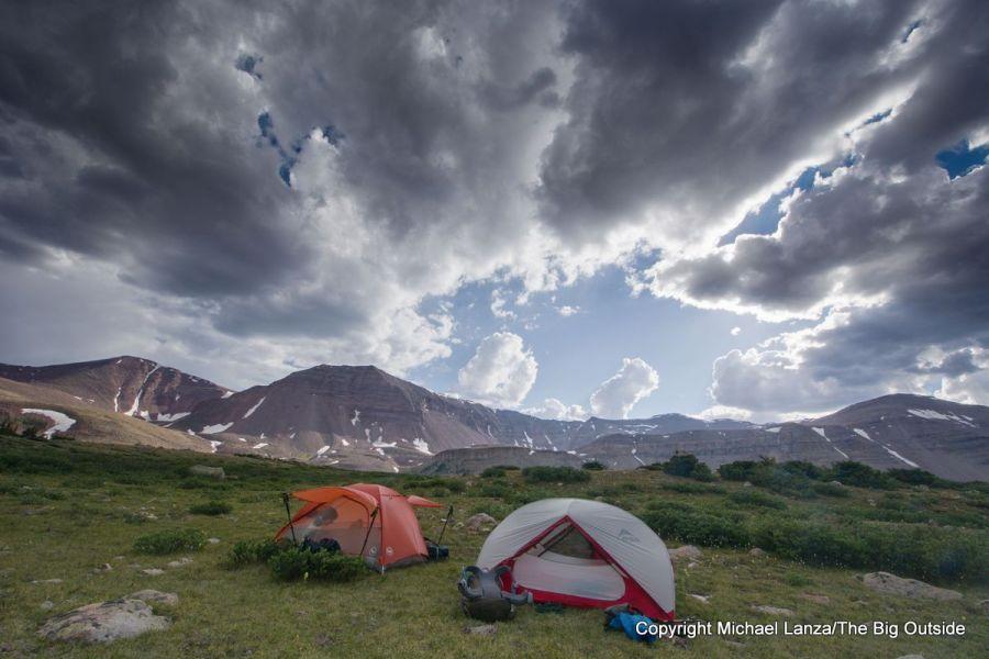A campsite in Painter Basin, below 13,538-foot Kings Peak (right) in Utah's High Uintas Wilderness.
