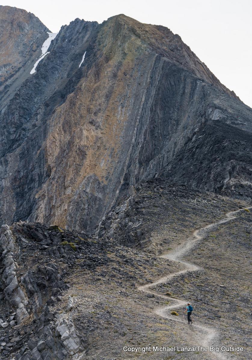 A hiker on the Southwest Ridge trail up Idaho's 12,662-foot Borah Peak.