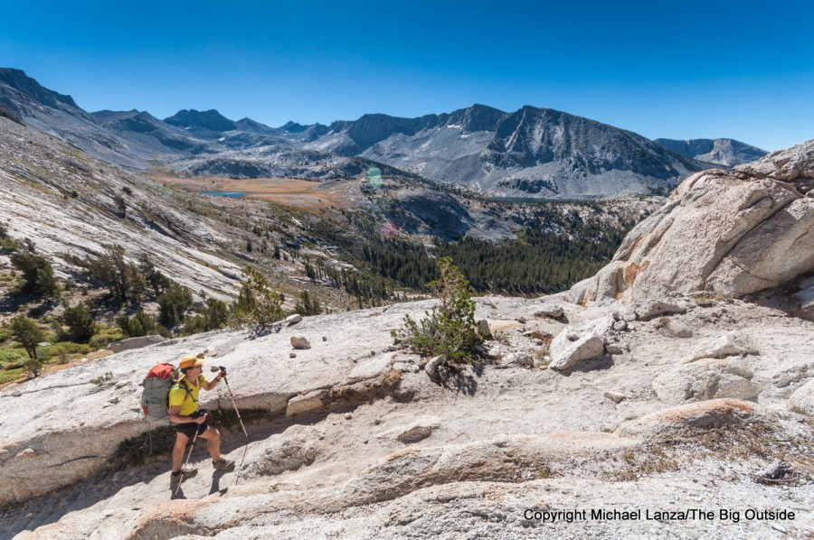 A backpacker hiking to Vogelsang Pass in Yosemite National Park.