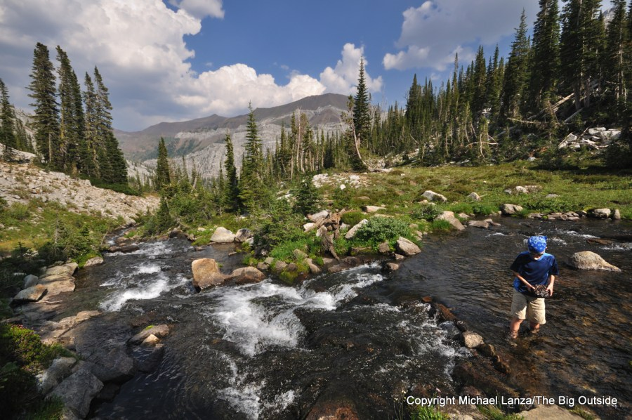 A young boy playing in a creek in Oregon's Eagle Cap Wilderness.