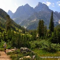 Young boy hiking the North Fork of Cascade Canyon, Grand Teton National Park.