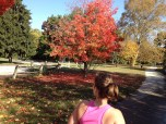 Katrina admiring a gorgeous fall colored red tree.