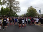 Less than an hour to go, the runners gather at the starting line