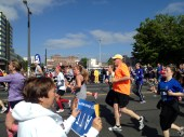 My mom was having a blast cheering on the runners