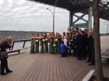 wedding party along the pier