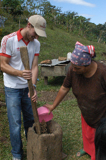 Matt Lamason (Peoples Coffee founder and all round nice guy) hulling coffee the traditional way in Matagalpa, Nicaragua.