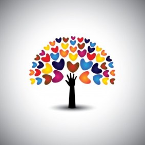 heart or love icons and hand as tree - concept vector. This graphic also represents harmony & peace spreading love empathy and compassion