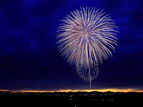 Fireworks exploding in the night sky to signify a celebration