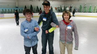 A fellow helpxer, Gabriel and the kids ice skating.