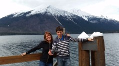 The family in Glacier, mom and son.