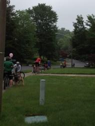 The Bike Train picking up the School Principal, Mrs. G