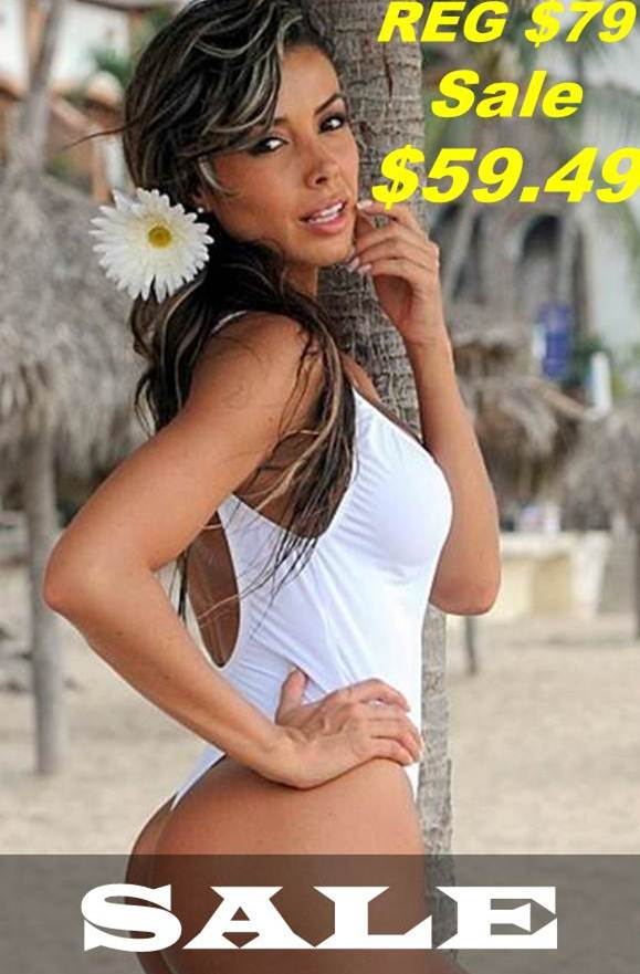 White One Piece Thong Swimsuit Sale