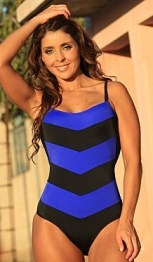 Chevron One Piece Swimsuit Royal Blue