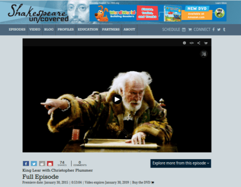 Shakespeare Uncovered: King Lear with Christopher Plummer (PBS)