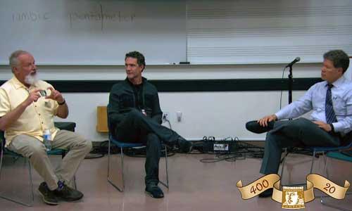 Kingsmen Shakespeare Company Artistic Director Michael J. Arndt and Associate Artistic Director Brett Elliott (directors of 2016's Henry V and A Midsummer Night's Dream, respectively).