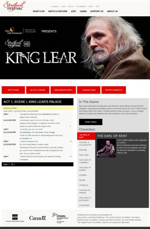 Stratford Shakespeare Festival: Performance Plus (King Lear)