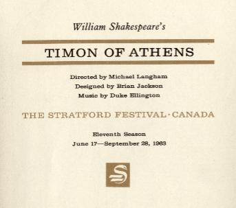 Program from 1963 Stratford Festival production (courtesy canadianshakespeares.ca)