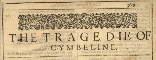 Cymbeline Cover Page of Brandeis University copy