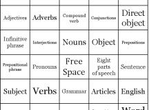 Part of Speech Bingo Cards